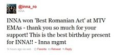 "Inna a castigat ""Best Romanian Act"" @ MTV EMA"