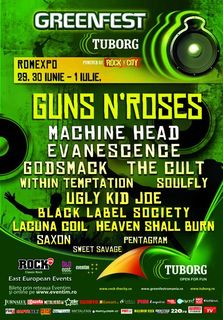 Tuborg Green Fest - Rock The City: Guns N'Roses, Evanescence