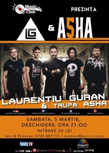 CONCERT: Laurentiu Guran & ASHA revin la Music Club