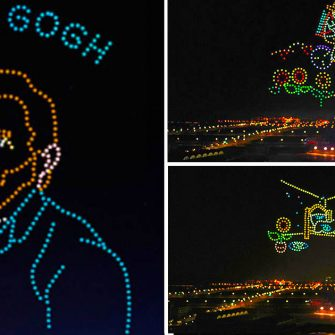 600 drone luminoase au recreat 9 tablouri ale lui Van Gogh pe cerul noptii. Instalatiile de arta au stabilit un nou Record Mondial.