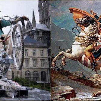 Locuitorii orasului Rouen (Franta) dezbat daca in piata din fata primariei sa ramana statuia lui Napoleon veche de 150 de ani sau sa fie statuia unei femei. S-a propus si o instalatie cu un Napoleon pe bicicleta, cu rucsac de livratator de mancare in spate.
